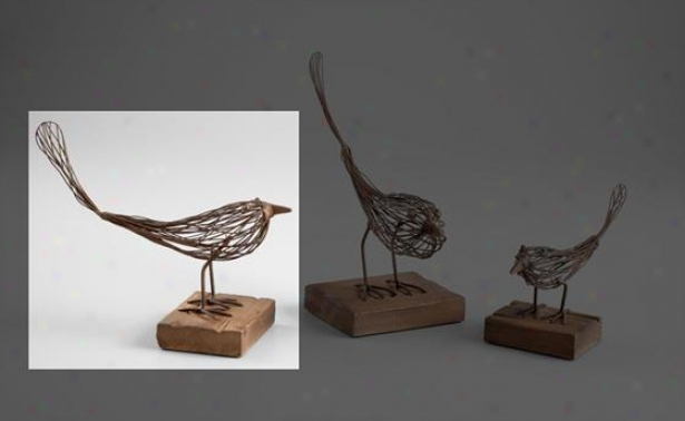 Bird Sculpture - 9.25hx5w, Rustic Wood
