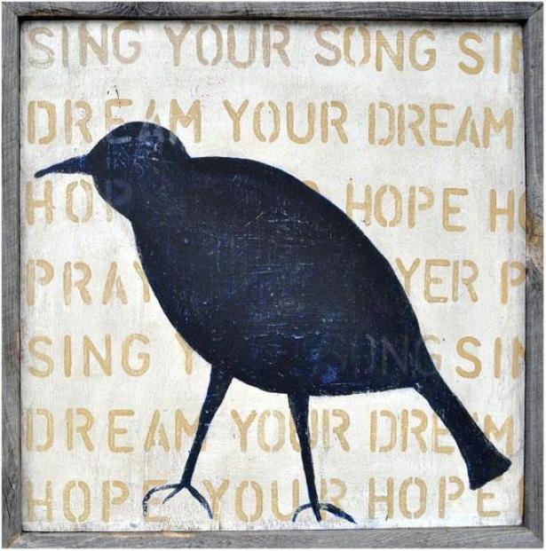 """""""bird Silhouette Wooden Sign - 26 X 26"""""""", Blue"""""""