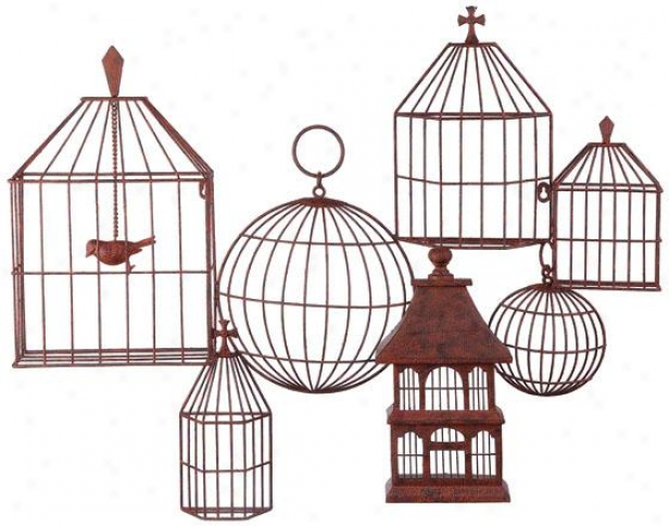 """birdcages Wall Plaque - 29h X 34.5w X 4""""d, Puumpkin"""