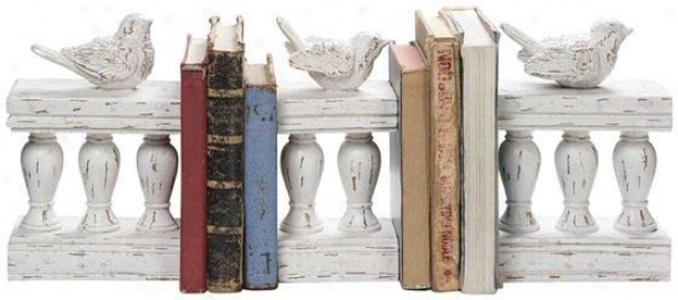 Birds On Fencing Bookends - Set Of 3 - 17x3, Ivory
