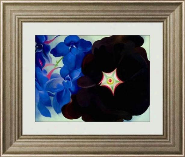 """black Hollyhock Blue Lakespur Framed Wall Art - 29""""hx34""""w, Tns Slv/pwtr Fm"""