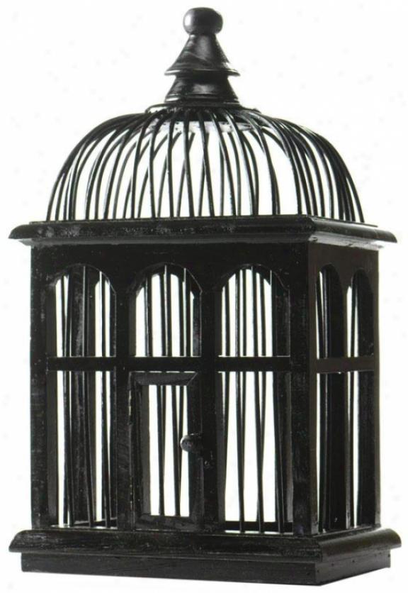 """black Wood Birdcage - Rectqngular: 17h X10w X7""""d17h X10w X7""""d, Black"""