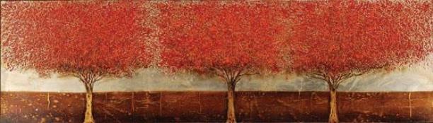 """blazing Trees Framed Wall Art - 20h X 70w X 2""""d, Red"""