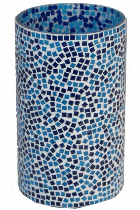 """blue Mosaic Candleholders - Tall: 7h X 4""""rd, Blue"""