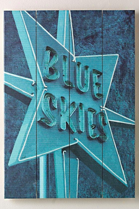 """blue Skies Ii  Wooden Sign - 20""""hx14""""w, Blue"""