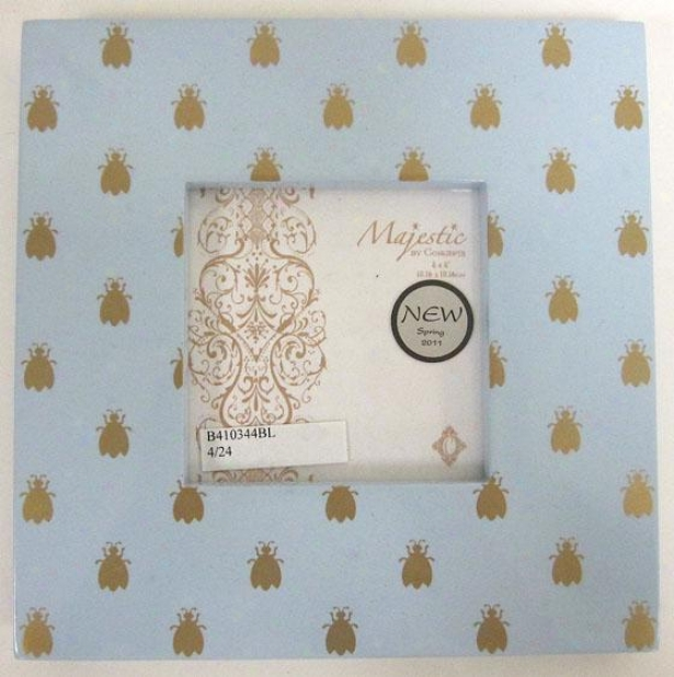 """""""blue With Gold Bees Picture Frame - 8""""""""sq-holds 4x4, Blue"""""""