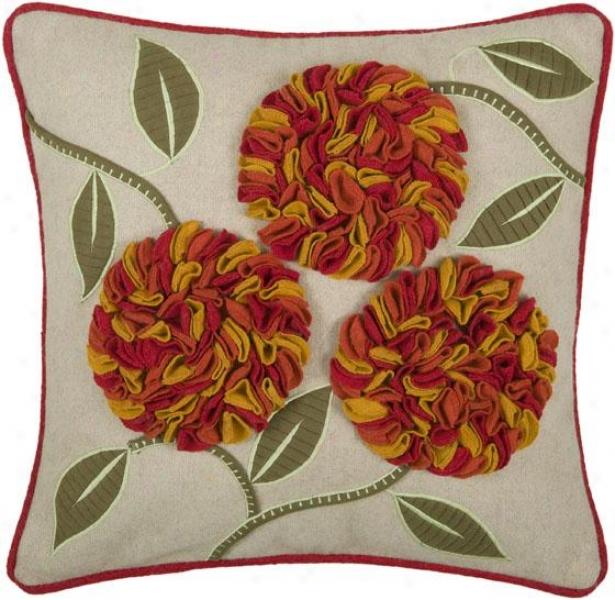 Blythe Pillow - 18hx18w, Beige/paprika