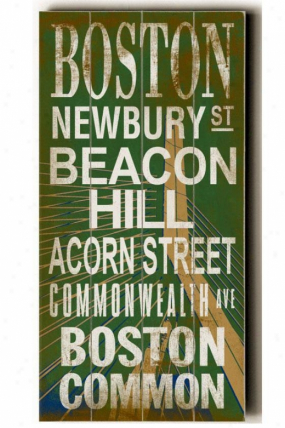 """boston Transit Sign Wall Plaque - 24h X 10""""w, Green"""
