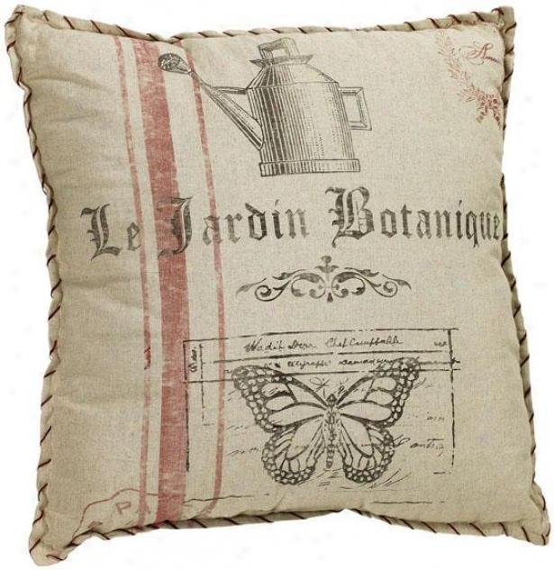 """botanique Jardin Pillow - 24""""square, Ivory"""