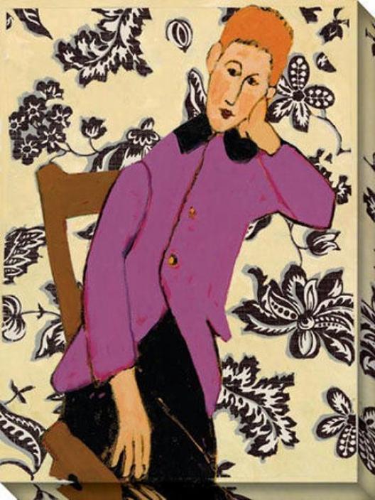"""boy In Thought Canvas Wall Art - 36""""hx48""""w, Cream"""
