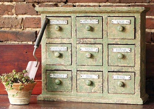 """braeside Aged Herbal Apothecary Cabinet - 18""""hx22""""wx7""""d, Old Grern"""