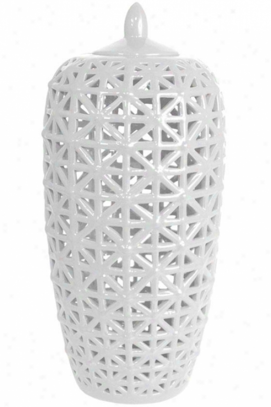 """""""brenna Ceramic Jar - Large: 18h X 8.5""""""""rd, White"""""""