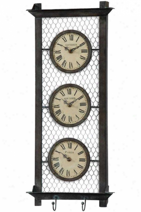 """brunswkck Wall Clock - 26 X 11 X 2.25"""", Brown Metal"""