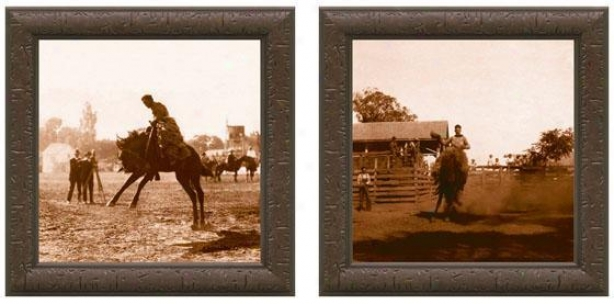 Bucking Bronco Rider Framed Wall Art - Set Of 2 - Set Of Two, Sepia