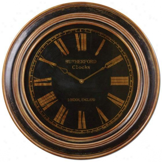 """buckley Wall Clock - 32 X 32 X 2""""d, Dstrssd Bl/brnz"""