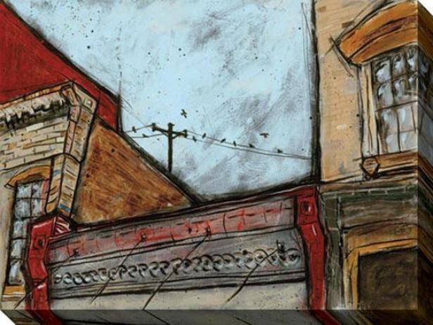 Buildings Ii Canvas Wall Art - Ii, Blue