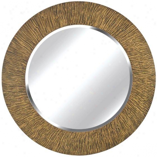 """burl Wall Mirror - 33"""" Round, Tan & Black"""