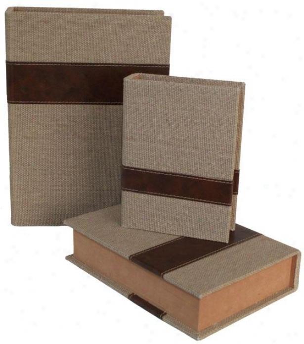 Burlap Book Box - Set Of 3 - Attitude Of Three, Ivory