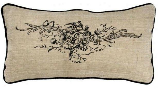"""""""burllap Floral Bouquet Pillow - 11""""""""h X 21""""""""w, Ivory"""""""