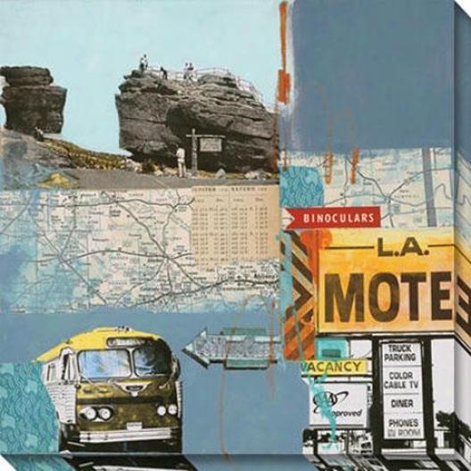 Bus To Amarillo Iii Canvas Wall Art - Iii, Blue