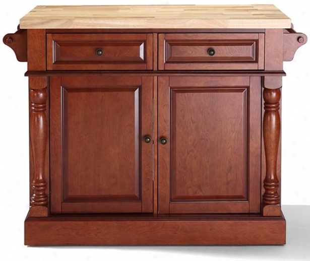 Butcher Executioner's ~  Top Kitchen Island - 36hx48w, Brick Red