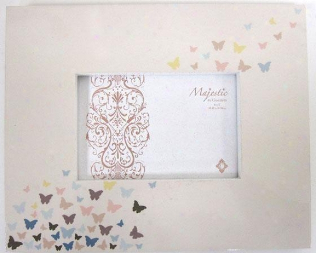 Butterflies Picture Frame - 10x8-holds 4x6, Ivory