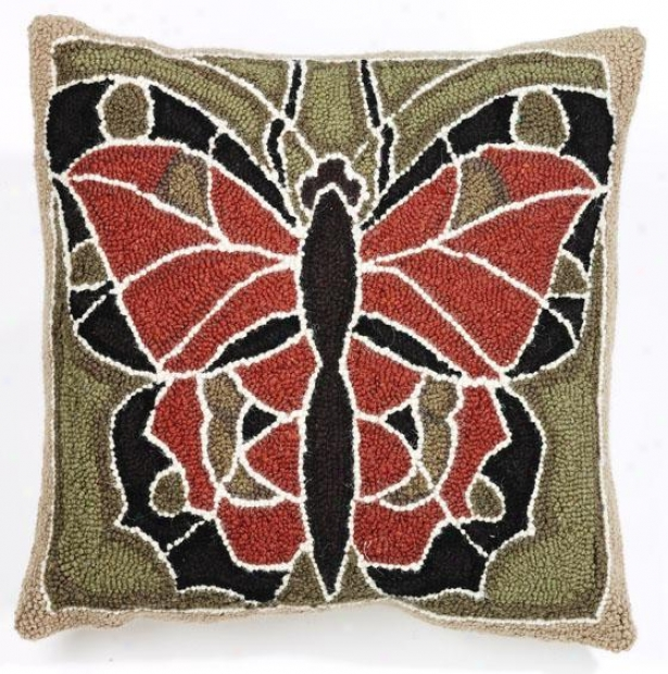 """""""butterfly Hook Pillow - 18"""""""" Square, Olive Rust Brwn"""""""