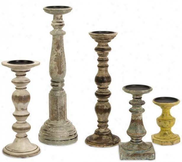Cain Candleholders - Set Of 5 - Set Of 5, Distressed Wood