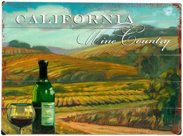 """""""california Wine Country Wooden Sign - 20""""""""hx14""""""""w, Blue"""""""