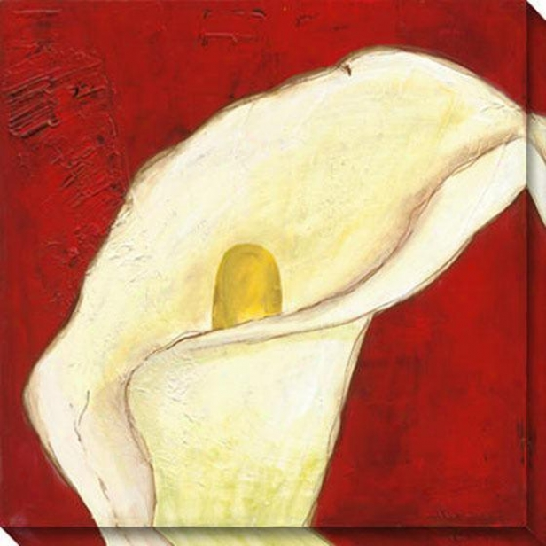 Calla Lily On Deep Red I Canvas Wall Art - I, Red
