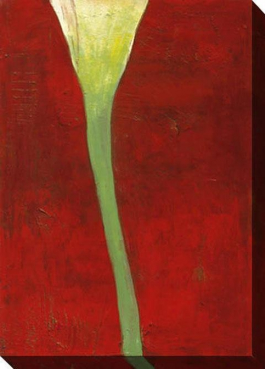 Calla Lily On Deep Red Ii Canvas Wall Art - Ii, Red