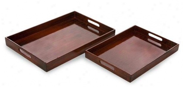 Calliope Serving Trays - Set Of 2 - Set Of Pair, Red