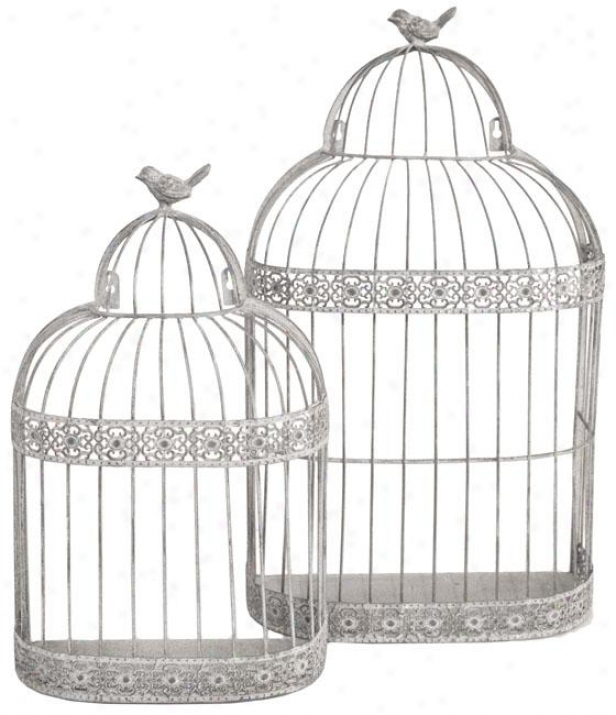 Cameron Birdcages - Set Of 2 - Set Of Two, Gray