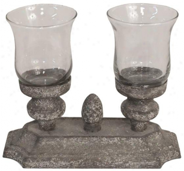 """camille Candleholder - 6.5h X 8w X 4""""d, Distressed Grey"""
