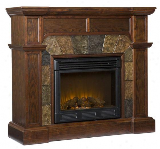 Camille Convertible Fireplace - Full of fire  Frplce,C offee Brown