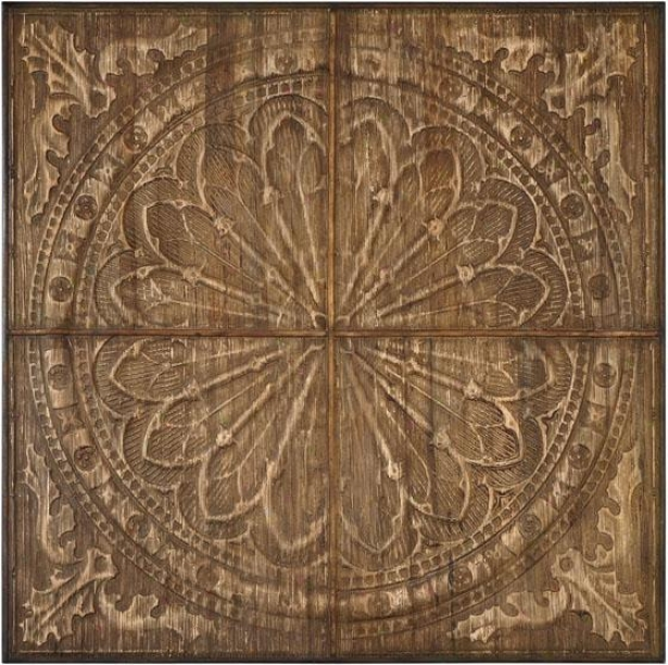 """camillus Wall Art - 44.25"""" Square, Antiqued Wood"""