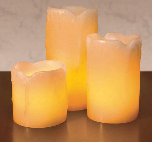 Candle Impressions Mini Melted Led Candles - Set Of 3 - Three Pack, Ivory
