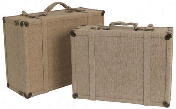 Canvas Wood Trunks - Set Of 2 - Set Of Two, Tan