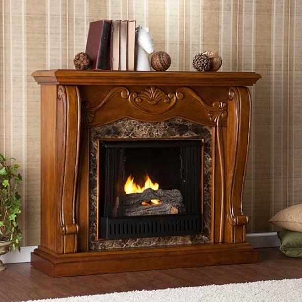 Cardona Fireplace - Gel Firing, Brown Wood