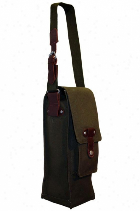 """cargo Single Wine Bag - 15""""hx6""""wx5""""d, Dark Sage"""