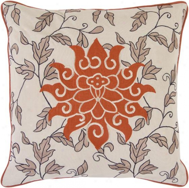 Carly Decorative Pillow - 18hx18w Down, Tan/orange