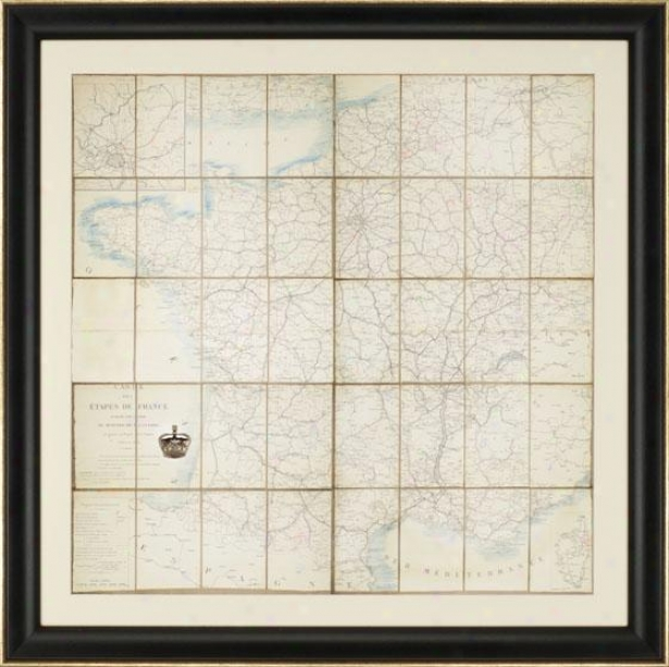 """carte Des France Wall Art - 39""""square X 2""""d, Ivory"""