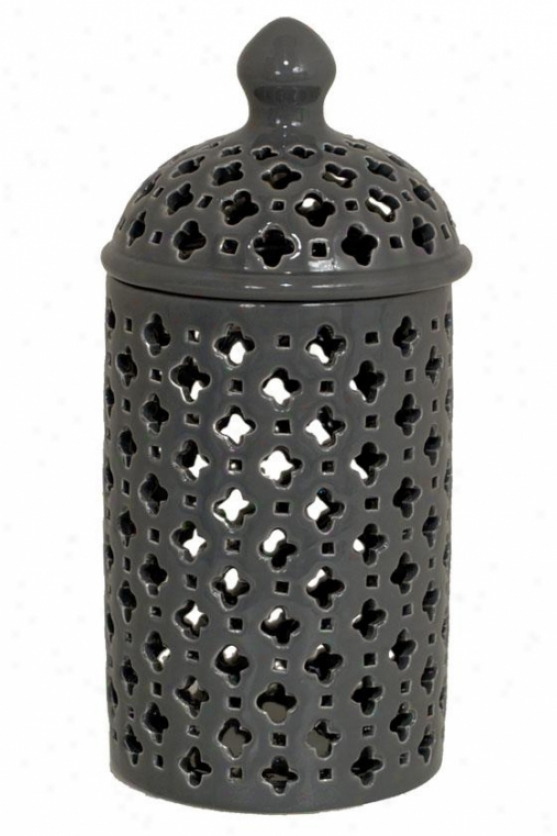 """carthage Pierced Lantern - 11""""tall, Gray"""