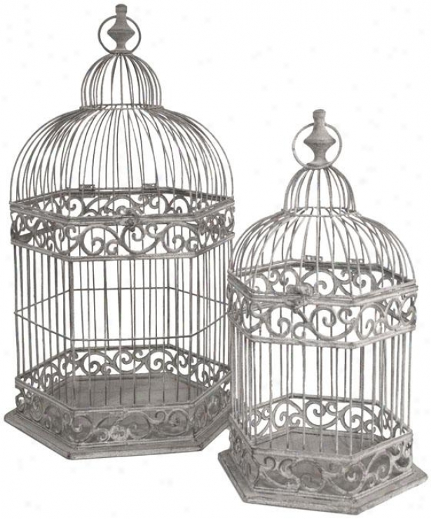 Cathedral Birdcages - Set Of 2 - Set Of Two, Gray