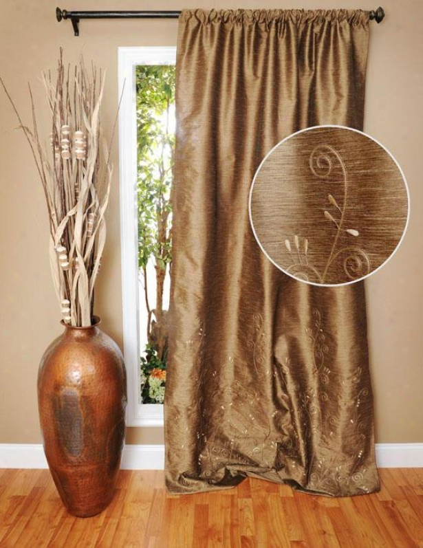"""cazele Embroidered Curtain Panel - 96h X 48""""w, Earthtone"""