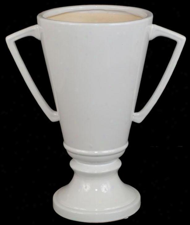 """""""ceramic Chalice Ivory Vase - 12""""""""h X 10.5""""""""w, White"""""""