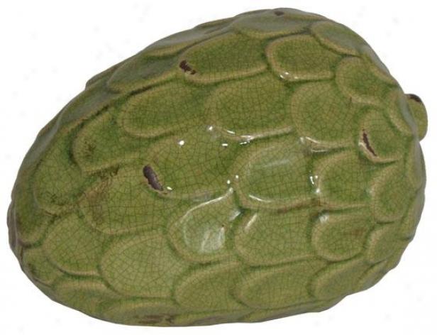 """ceramic Decorative Pinecone - 6.5h X 8.5w X 6""""d, Green"""