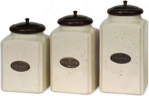 Ceramic Ivory Canister s- Set Of 3 - Set Of Three, Brown