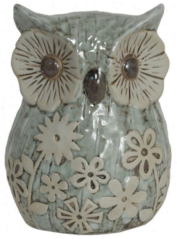 Ceramic Owl Figurine - Large: 7h X 5.5w X 4.5d, Aqua & Tan