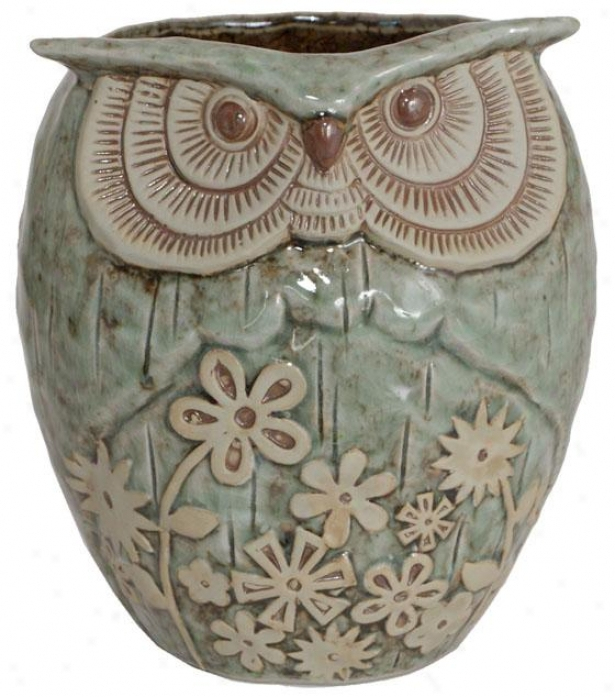 """ceramic Owl Planter - 7.5h X 6.5""""rd, Aqua & Tan"""